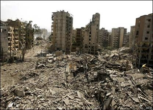 Beirut in ruins (BBC)