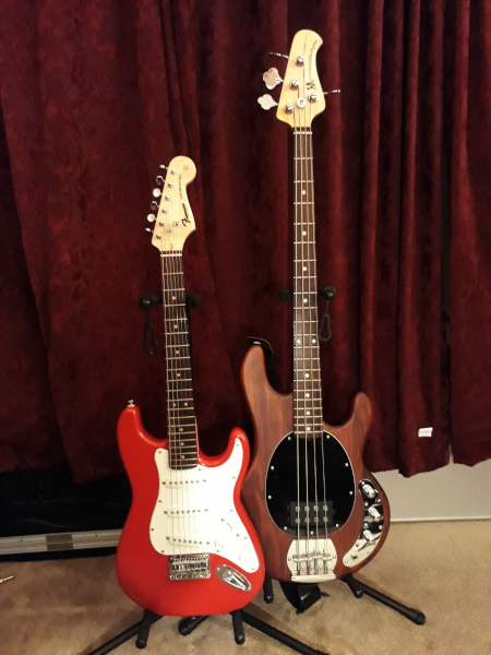 A Squier Mini and a Sterling by Music Man SUB series Ray 4